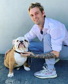 Aaron Carter Aaron Carter Instagram, Old English Bulldog, French Bulldog, Michael Jackson Story, Pet Adoption Center, I Love You Pictures, New Daddy, Famous Stars, World Famous