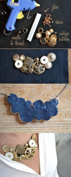 DIY vinatge button necklace