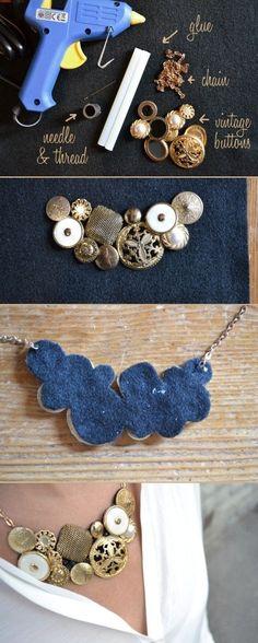 DIY vinatge button necklace