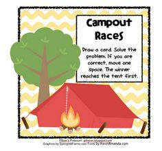 Pitner's Potpourri: Campout Races -- Place Value -- Freebie! Common Core Activities, Kindergarten Activities, Preschool, Fourth Grade Math, Second Grade Math, Math Place Value, Place Values, Math Classroom, Classroom Themes