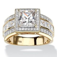 Palm Beach Jewelry PalmBeach TCW Princess-Cut Cubic Zirconia Halo Engagement Ring in Gold over Sterling Silver Classic CZ Gold Gold, 18k Gold, Gothic Engagement Ring, Cubic Zirconia Engagement Rings, Entertainment Center Decor, Palm Beach Jewelry, Fashion Rings, Fine Jewelry, Jewellery