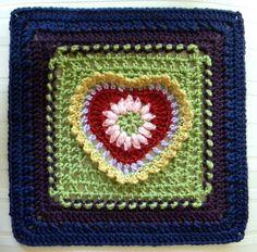 Grandma's Heart Square Motif By Carola Wijma - Free Crochet Pattern - (ravelry)