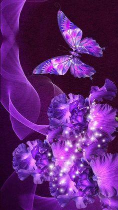 Purple Butterfly Wallpaper, Pink And Purple Wallpaper, Glitter Phone Wallpaper, Bow Wallpaper, Purple Flower Background, Glitch Wallpaper, Flower Phone Wallpaper, Purple Art, Purple Backgrounds