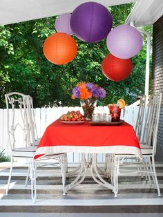 Use Bright Colors...make a space come alive with colorful paper lanterns, table linens and fresh flowers in bright shades!