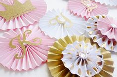 Pink and Gold Princess Baby Shower, Princess Party Decorations, Paper Rosettes, Paper Fans, Princess Backdrop Princess First Birthday, Baby Shower Princess, Baby Princess, Baby First Birthday, Gold Birthday, Princess Party Decorations, First Birthday Decorations, Birthday Backdrop, Paper Rosettes
