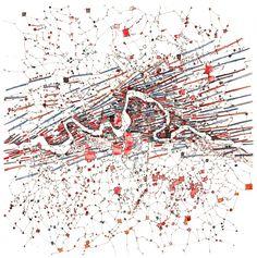 « Méandres »  Drawing watercolor paper 50x50cm _ Fabrice Clapiès _ 1997