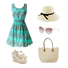 Hit the beach in this turquoise sundress! Pair it with high heel wedge sandals, a floppy sun hat, a straw woven beach bag, and cute cat eye sunglasses!