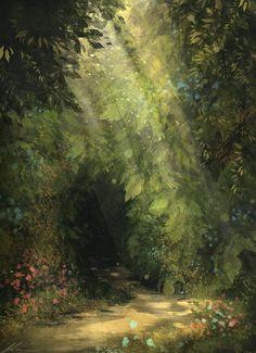 Forest Art Print by zandraart Fantasy Art Landscapes, Fantasy Landscape, Fantasy Artwork, Landscape Art, Fantasy Forest, Forest Art, Forest Scenery, Forest House, L Wallpaper