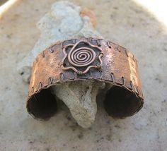 copper flower cuff bracelet by EdisLittleTreasures on Etsy, $48.00