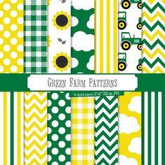 Buy 2 Get 1 Free! Digital Paper Green Farm Patterns, John Deere  tractor theme, gingham, polka dots, stripes, chevron, scrapbook, seamless by PeppyPapers on Etsy