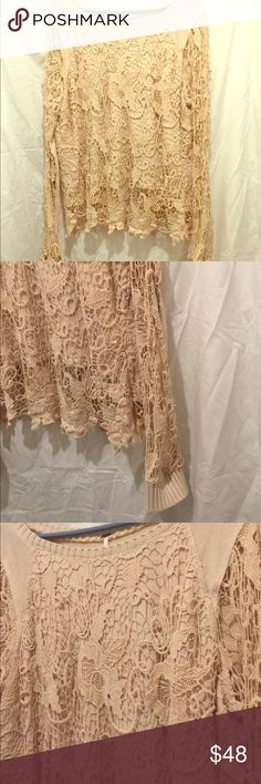 Free People crochet lace split back sweater Beautiful crochet lace split back sweater in cream. Only worn twice. No stains, rips, or tears. $128 retail. Size large. Free People Sweaters Crew & Scoop Necks