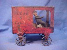 Original 1870s Tin Toy Horse Drawn Bread Cake Wagon by James Fallows
