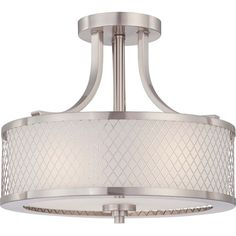 "Nuvo Lighting Fusion Brushed Nickel Three Light Semi Flush Fixture W/Frosted Glass  13 3/4""W x 12""H  3 - 60 watt Medium Base bulbs"