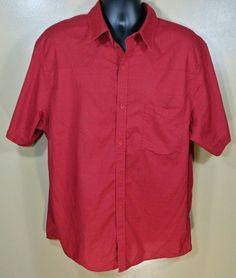 Mountain Hardwear Red Button Front SS Shirt Cotton Blend Sz XL #MountainHardwear…