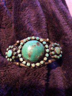 Vintage Navajo turquoise cluster bracelet sterling silver Native American .J.T. #Cluster