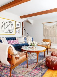 Havenly designer Danielle Chiprut left New York City for Long Island, creating a modern bohemian tudor escape for her and her husband. Eclectic Living Room, Living Room Designs, Living Spaces, Bold Living Room, 1930s Living Room, Living Room Interior, Living Rooms, Interior Design Process, Bright Walls