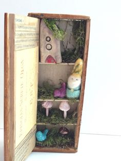 Gnome collectible,Home decor, Mushroom collector,Handmade Folk Art Decor, Vintage story box - The Gnome by BeehiveBoxCompany on Etsy https://www.etsy.com/listing/248402451/gnome-collectiblehome-decor-mushroom