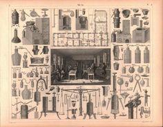 Chemical Laboratory Equipment Antique Chemistry Print 1857