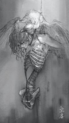 Art, just art Scary Drawings, Amazing Drawings, Scary Art, Inspiration Art, Angels And Demons, Illustration Girl, Illustrations Posters, Art Sketches, Fantasy Art