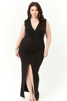 7ae2d5f5c218 Product Name:Plus Size Ruched Surplice Maxi Dress, Category:CLEARANCE_ZERO,  Price: Forever 21
