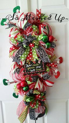 Just Elfin' around the Christmas swag! https://www.etsy.com/listing/255949850/whimsical-deco-mesh-teardrop-swag-extra