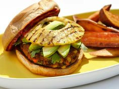 Mexican Veggie Burgers with Grilled Pineapple, Avocado and Jalapeno Ketchup. Easy to make vegan with egg substitute