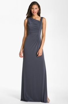 Free shipping and returns on Calvin Klein Asymmetrical Jersey Gown at Nordstrom.com. An asymmetrical neckline is defined by soft pleating that continues down to sculpt the fitted bodice of a stunning stretch jersey gown finished with a side slit in the floor-grazing skirt.