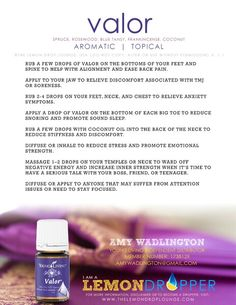 , Valor Essential Oil Young Living Blend - Back Pain Jaw Discomfort TMJ Soreness A. , Valor Essential Oil Young Living Blend - Back Pain Jaw Discomfort TMJ Soreness Anxiety Reduce Snoring Promote Sleep Reduce Stiffness Focus - Heather W. Valor Essential Oil Uses, Yl Essential Oils, Young Living Essential Oils, Essential Oil Blends, Yl Oils, Essential Oil For Snoring, Valor Young Living, Young Living Oils, Young Living Anxiety