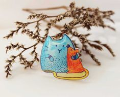 Free shipping Animal brooch pin animal jewelry Cat and Mouse jewelry clay animals, gift under 25 (0025)