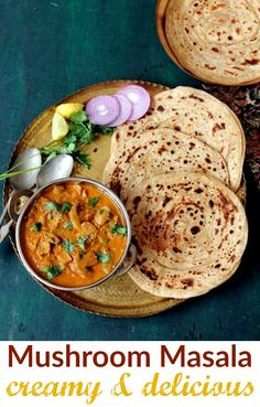 Mushroom masala is a rich, creamy restaurant style vegetarian curry that makes a perfect side with naan, pulao