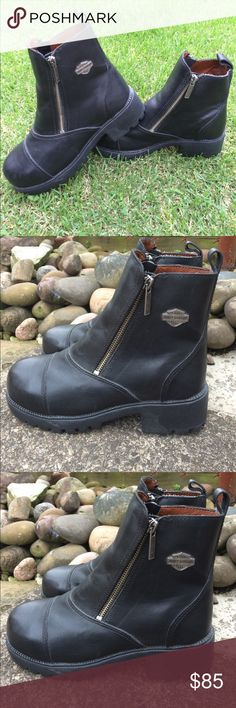 """Harley-Davidson Moto Boot - NWOB- size 7 Super sweet Harley-Davidson Moto leather boot in women's size 7- NWOB. These are new, without box in unworn condition. Heel is about 2"""" in the back and about 1"""" at toe.  These are beautiful black leather and feature a steel toe for extra protection. Fabulous and sexy! Harley-Davidson Shoes Combat & Moto Boots"""