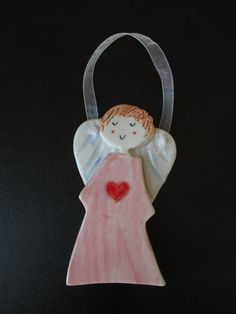 Ceramic Angel,Ceramic Angel Ornament,Guardian Angel,Ornament,Pink Angel,Red Heart,Flower Girl Gift,Angel with Heart,Baptism,First Communion