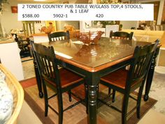 2 Toned Country Pub Table w/ Glass Top, 4 Stools and one Leaf $588.00