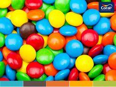 Nomes das cores: Azul Mergulho / Beijo de Chocolate / Laranja Fiesta / Amarelo / Verde Pastel
