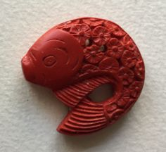 Vintage Realistic Fish Button - Cinnabar? with Fish Scale Flowers