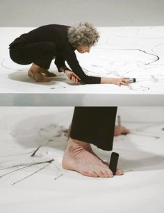 Are you going to start painting like this Jeff? Trisha Brown creating a performative drawing, Philadelphia Museum of Art, Courtesy Trisha Brown Dance Company Drawing Machine, Philadelphia Museum Of Art, Brainstorm, Make Art, Art Techniques, Portrait, Artist At Work, Installation Art, Art Lessons