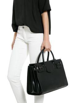 Decorative flap shopper bag