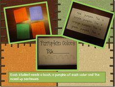 """""""Cut a Sentence"""" / Sentence Structure Activity, """"Pumpkin Colors"""""""