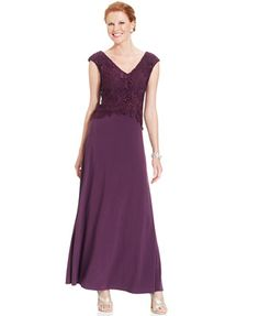 Patra Dress, Cap-Sleeve Lace Chiffon Gown