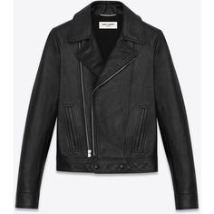 Saint Laurent Motorcycle Slouch Jacket ($4,065) ❤ liked on Polyvore featuring outerwear, jackets, yves saint laurent, asymmetrical zipper jacket, leather moto jacket, biker jacket and leather biker jacket