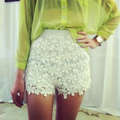 neon with lace shorts