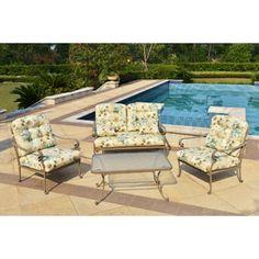 Mainstays Willow Springs 4-Piece Patio Conversation Set, Cream, Seats 4