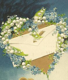 Love Letter Amidst Blue Forget-me-Nots and Lily