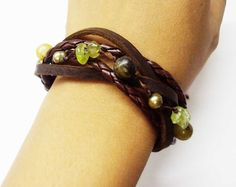 Leather and bead bracelet.