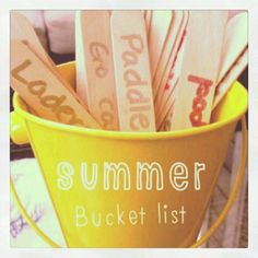 Summer bucket list. Let each child write something they want to do for summer on a popsicle stick then Each day(or week) have a child pick out one or two and make that your goal for the day (or week)