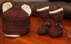 Crochet Bear Hat and Moc set  http://www.slantedsouthofsane.etsy.com