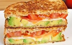Avocado, Mozzarella and Tomato Grilled Cheese! Avocado, Mozzarella and Tomato Grilled Cheese! Grilled Cheese Avocado, Tomate Mozzarella, Good Food, Yummy Food, Tasty, Wrap Sandwiches, Soup And Salad, Food And Drink, Cooking Recipes