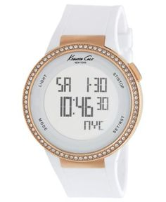 Kenneth Cole New York Watch, Women's Digital White Silicone Strap 44mm KC2697 $150.00