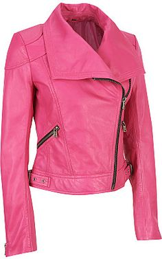 hot pink biker style leather jacket.... quite like this.