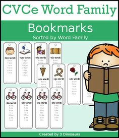 The CVCe Word Family printables are fun bookmarks that you can use with kids. There are two types in this set: single print and teacher print. Each bookmark has a picture of the word family and matching words. These are great for learning centers. In these printables you will find CVCe Word families: -ace, -age, -ake, -ale, -ame, -ane, -ape, -ase, ate, ave, ade, ice, ide, -ife, -ike, -ile, -ime, -ine, -ipe, -ise, -ite, -ive, -obe, ode, -ome, -one, -ope, -ose, -ote, -ove, -ube, -ule, -une…